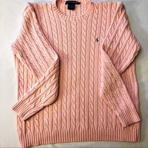 Ralph Lauren cable knit sweater embroidered logo